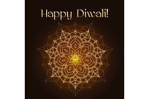 Diwali festival greeting card with