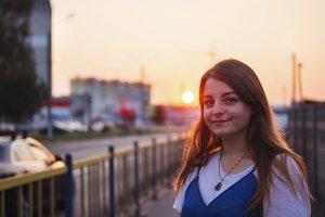 Urban evening sunset portrait of a y