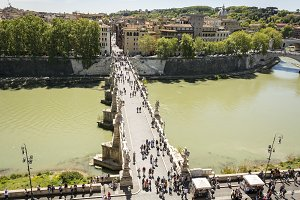 people walking on the Sant'Angelo br