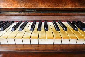 close-up view of the keys of a piano