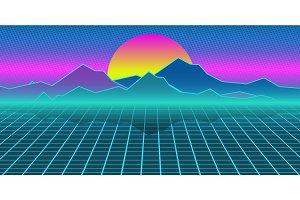 Cyberpunk retro computer background