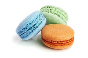 three macaroons isolated on white