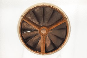 Vintage old rusted window fan