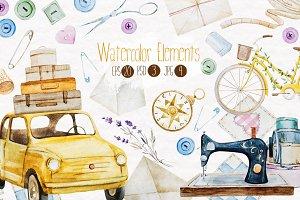 Watercolor elements v.1