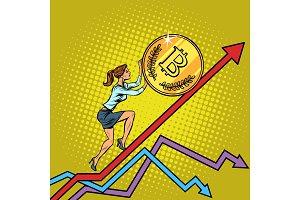 woman businesswoman roll a bitcoin