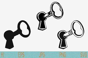 key in keyhole svg set vector png