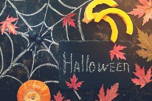 Halloween, pumpkin slice, spider