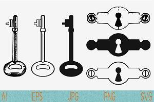 Keyhole, key svg set vector png eps