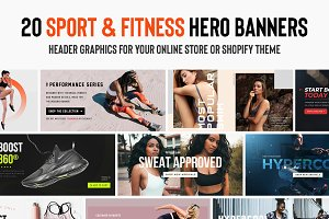 20 Fitness & Workout Hero Banner PSD