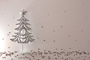 Christmas silver tree with snow