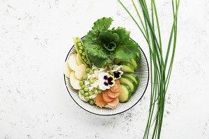 Vegetables summer fruit detox bowl