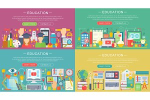 Education concept headers set.