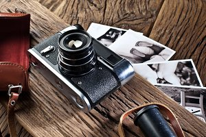 Old rangefinder camera and black-and