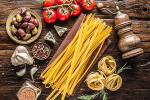 Tomatoes, pasta and spices.