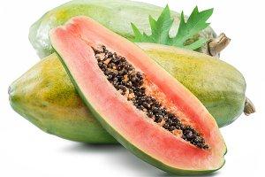 Papaya fruit isolated on a white bac