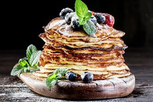 Pancakes with fresh berries.