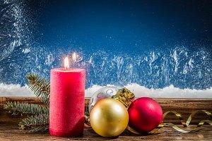 Christmas candle, Christmas balls an