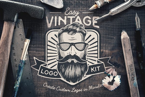 Logo Templates: Trailhead Design Co. - Easy Vintage Logo Creation Kit