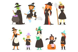 Cute little Halloween girl witchs
