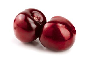 Sweet red cherries isolated on white