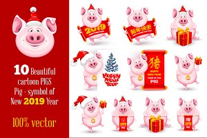 Cheerful New Year Pigs Set