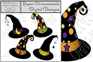Clip Art, Halloween Witch Hat Tags