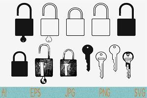 open, closed lock, key, padlock svg