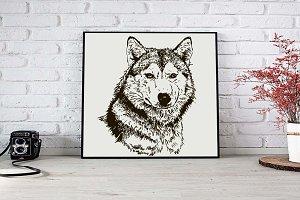 Wolf head | hand drawn | vector