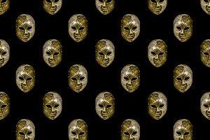 Venetian Mask Motif Seamless Pattern