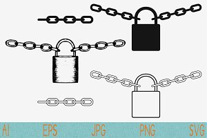 Padlock with chain svg set vector