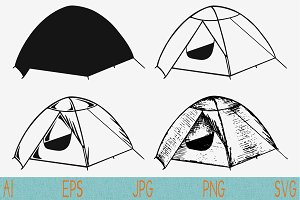 tent camping svg set vector png eps