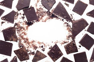 Background of chocolate pieces