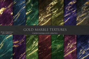 Valentine's Day Gold Marble Textures