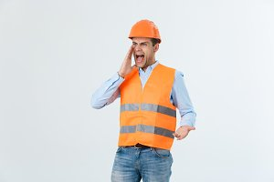 Angry builder or constructor yelling