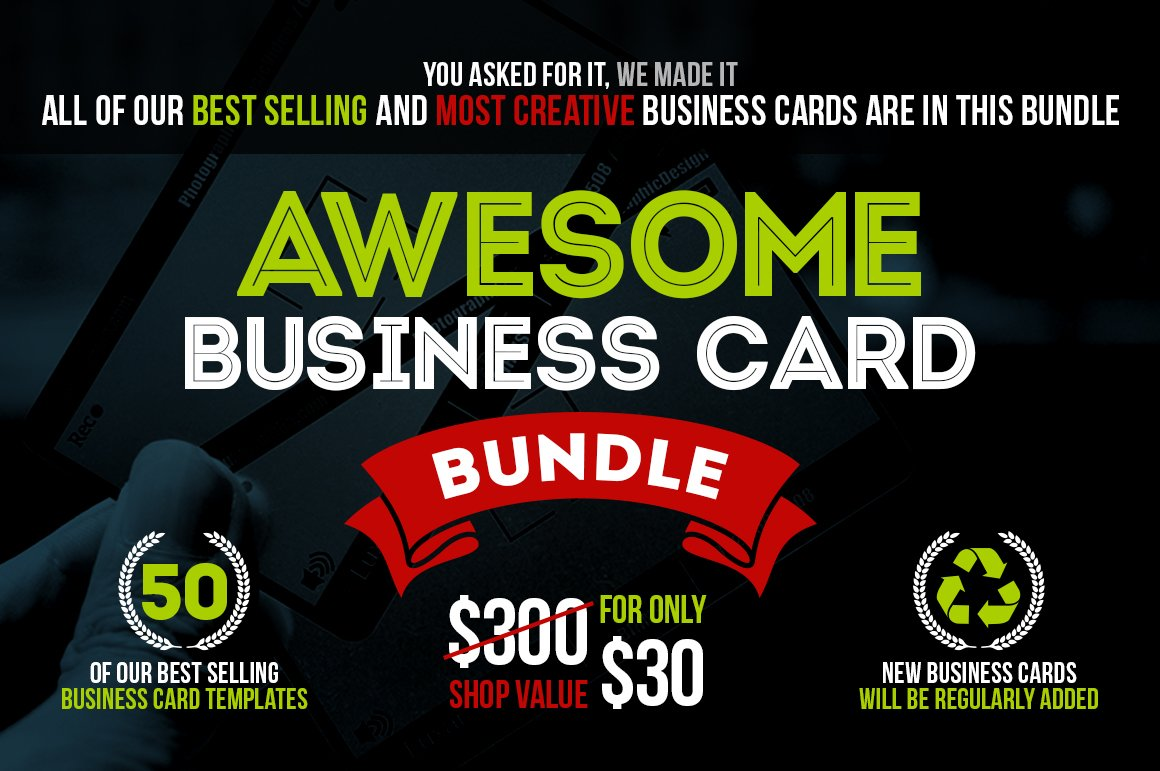 Awesome Business Card Bundle +50 PSD