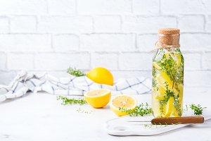 Fresh cool lemon thyme infused water