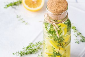 Fresh cool lemon thyme infused water