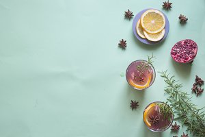 Pomegrante with orange and rosemary
