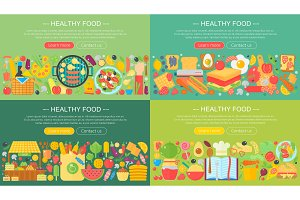 Healthy food concept set.