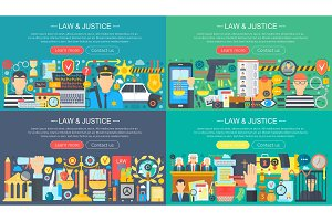 Law and justice concept set