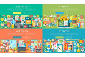 Web design flat concept set
