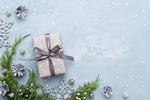 Christmas composition with gift box.