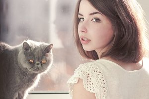 beautiful girl and her cat