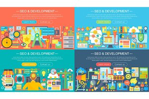 Seo development concepts set