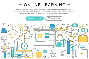 Vector e-learning education concept