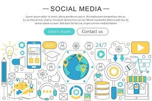 Social media flat line concept
