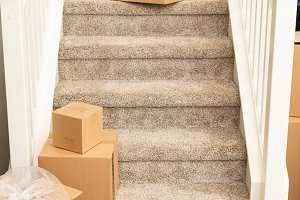 Packed Moving Boxes on the Stairs