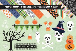 Halloween Clipart & Digital Papers