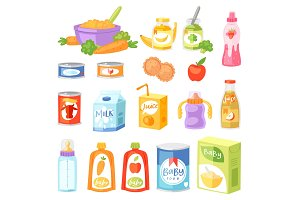 Baby food vector child healthy