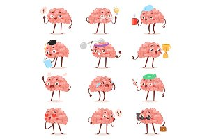 Brain emotion vector cartoon brainy